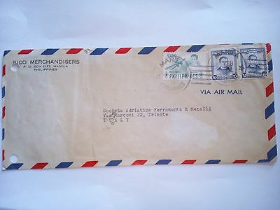 Philippines Manila Stamped Cover 1957 Air Mail To Italy Stamps