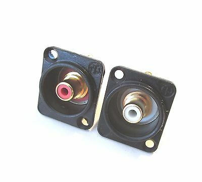 Neutrik NF2D-B red & White female chassis Mounted RCA socket Solder as a pair