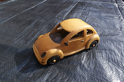 Carved Wooden Car, VW Beetle Shaped Wood Model of a Car