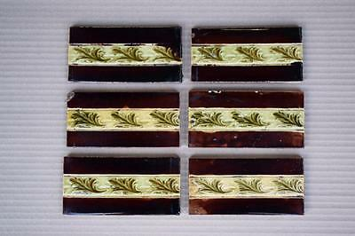 Set Of 6 Victorian Fireplace Spacer Majolica Tiles, c1880-1890
