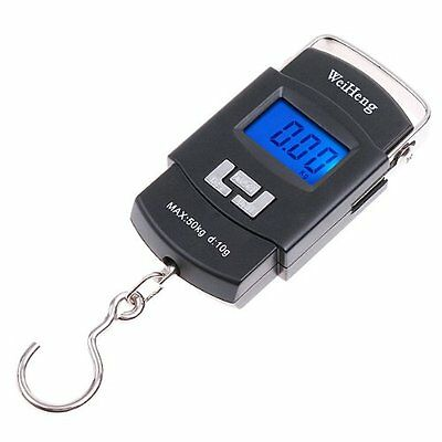 WeiHeng 50KG/10g Mini Digital Hanging Luggage Fishing Weighing Scale Black ED