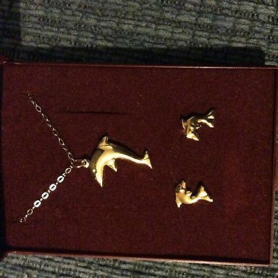9ct Gold Dolphin Necklace And Matching Stud Earrings Set