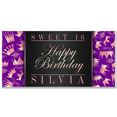 Princess Purple Tiara Sweet Sixteen 16 Birthday Banner Personalized Party Bac...