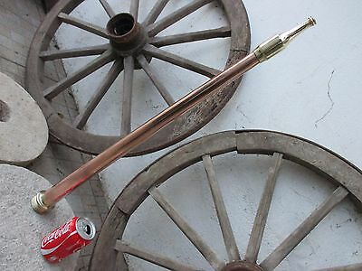 Antique 1900 Copper Brass Giant Long Fire Fighting Hose Nozzle Tip Firefighter