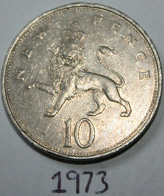 1973 British Decimal Ten Pence 10p Coin, First Large Type: NEW PENCE