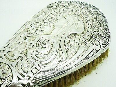 ART NOUVEAU Sterling Silver Hair Brush, TOP QUALITY, Hallmarked 1904, Vanity
