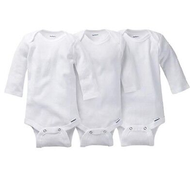 Gerber Boy Or Girl Unisex 3-Pk White Long Sleeves Onesies Size 12M BABY CLOTHES