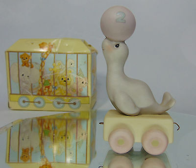 Boxed 1985 Precious Moments  2 Year Old BIRTHDAY TRAIN Seal With Ball Figurine!