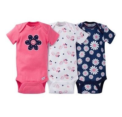 Gerber Baby Girl 3-Piece Navy/Coral Flowers Onesies Size 0-3M BABY CLOTHES GIFT