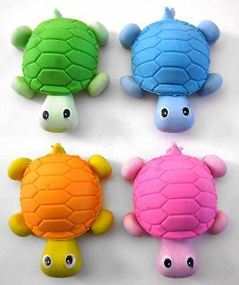 Bulk Lot of 12 Mixed Colour TURTLE Rubber Erasers Kids Novelty Party Favors NEW