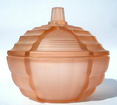 Superb Art Deco Frosted Pink/Peach Pressed Glass Trinket Pot S Reich & Co