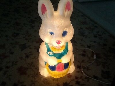 Blow Mold light up Easter Bunny Rabbit with Basket of Eggs