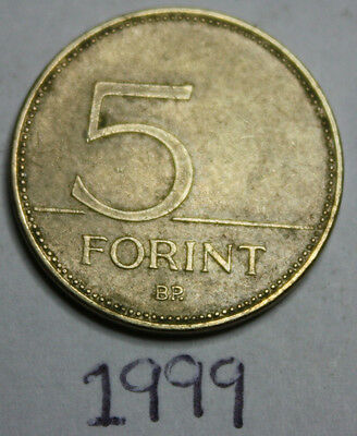 1999 Hungarian Five 5 Forint Coin, Hungary, Europe, brass, great white egret
