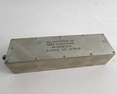 K&L Microwave SMA Bandpass Filter, 8 Section, 25.50 MHz Center Freq, 3 MHz