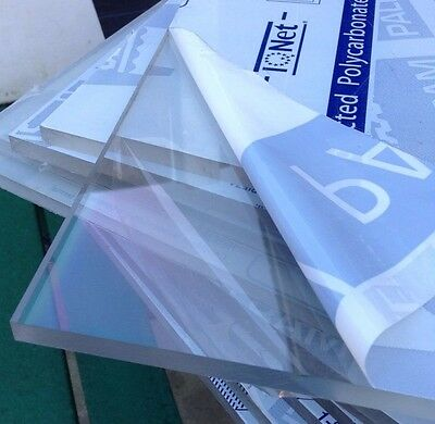 CLEAR PLASTIC SHEET POLYCARBONATE PANEL FABRICATION GLAZING SIGN 610x457mm 4mm