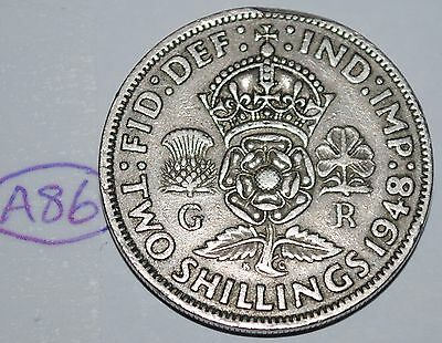 1948 Great Britain Florin 2 Shillings UK Coin Nice KM# 865 Lot #A86