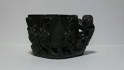Well Carved 19th C Antique Chinese Stone Libation Cup, Monkey, Plum Blossoms