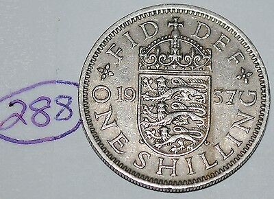 1957 Great Britain Shilling UK Coin KM# 904 Lot #288