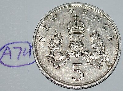 1980 Great Britain 5 New Pence UK Coin KM# 911 Lot #A74