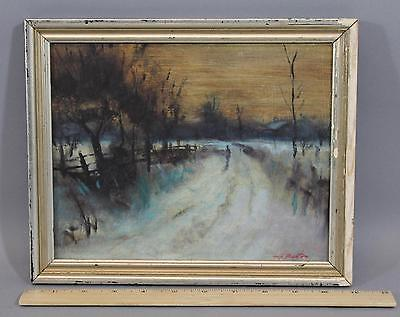 Small Authentic HARRY BARTON Vintage A Cold Winter Evening Oil Painting, NR