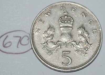1968 Great Britain 5 New Pence UK Coin KM# 911 Lot #670
