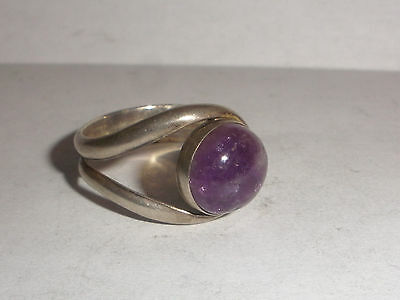 Vintage Mexico Mexican modernist  sterling silver amethyst eyeball ring size 10