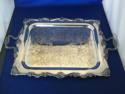 Large Silverplated Marlboro Two Handled Tray