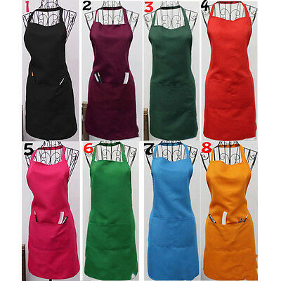 Women Solid Cooking Kitchen Restaurant Apron Bib New Dress with Pocket Aprons