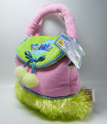 Webkinz PET CARRIER HC100 Plush Pink Corduroy & Green with Poms NEW Sealed