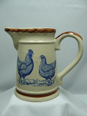 Blue Rooster and Hen Pottery Pitcher - 5 1/2 inch tall - Tan with Brown trim