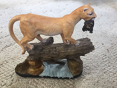 """Cougar with Bear Cub on Tree Trunk """"On the Move"""" Figurine Statuette"""