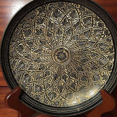 Vintage Asian Floral Etched Brass Black Wall Hanging Plate.