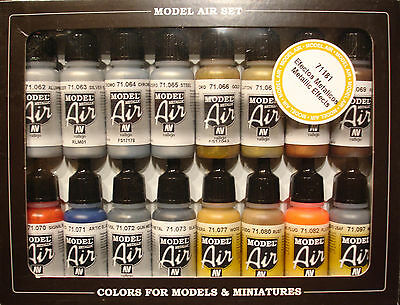 Vallejo Model Air Metallic Effects Paint Set 71181, 16 x 17ml Airbrush Colours