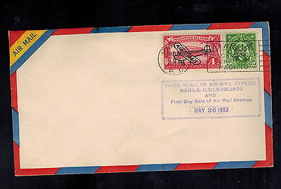 1933 Manila Philippines First Day Flight Cover to Iloilo Negros FFC  Overprints