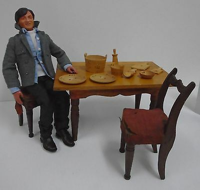 Vintage Primitive 1/6 Scale Diorama Wooden Table Two Chairs Doll Furniture