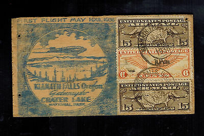 1938 USA first flight cover Wood Klamath Falls OR to Crater lake FFC