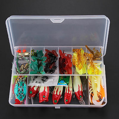 100 Fishing Lures Spinners Plugs Spoons Soft Bait Perch Carp+Box Set New