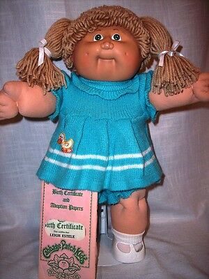 Coleco 1983 Cabbage Patch Kid/Beige Poodle Hair/Freckles/Birth Certificate
