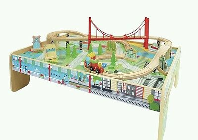 wooden train table  with 56 piece train set *collection only*