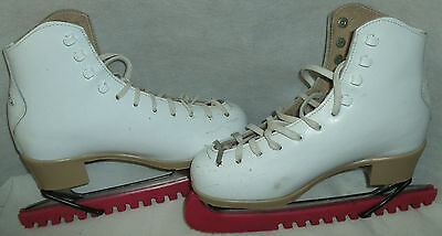 Risport Antea white leather Ice Skate Boots Size 4 Blade is size 9 + Guards Bags