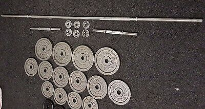 Weights Set – 6' Barbell, Dumbell  and 22 cast iron plates - 53kg
