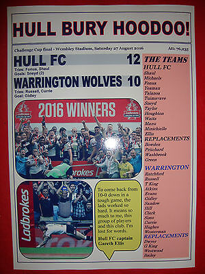 Hull FC 12 Warrington Wolves 10 - 2016 Challenge Cup final - souvenir print