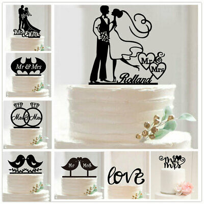 Romantic Bride and Groom Mr & Mrs Love Couple Wedding Party Cake Topper