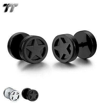 TT 8mm Stainless Steel Star Fake Ear Plug Earrings (BE209) NEW