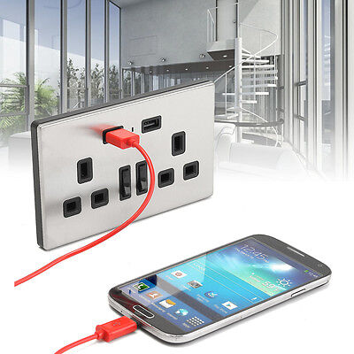 Double Wall UK Plug Socket 2 Gang with 2 USB Charger Port Outlets Slim Plate