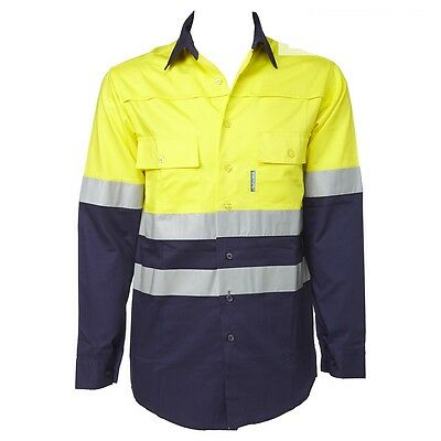 Escape Hi Vis L/S Vented Cotton Drill Work Shirts Reflective Tape Yellow 2XS