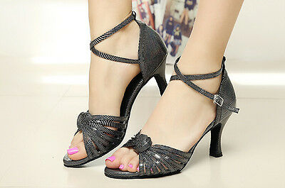 New womens Black Latin Dance Shoes Salsa shoes party ballroom shoes size US 4-10