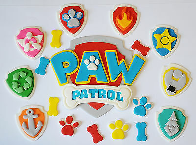 Paw Patrol Logo Edible Cake Topper X 1 - Plus 8 X Badges & Paws And Bones - Wow!