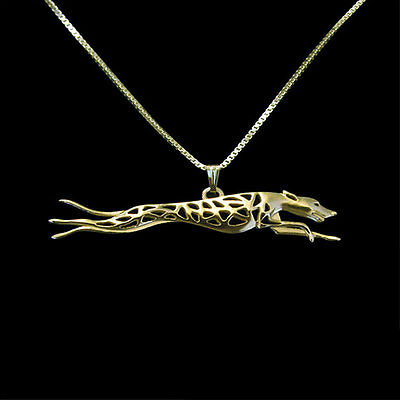 UNIQUE Greyhound Running Pendant and  Necklace Gold ANIMAL RESCUE DONATION