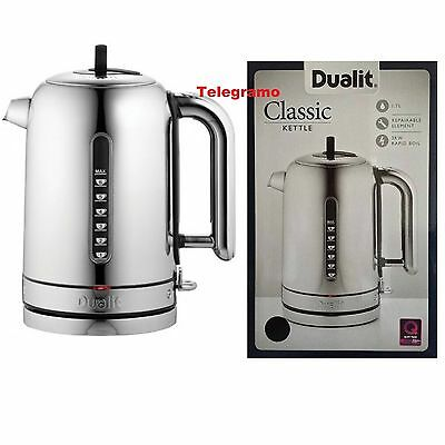 Dualit Classic Kettle Polished Stainless Steel 72815 Black Trim Brand NEW